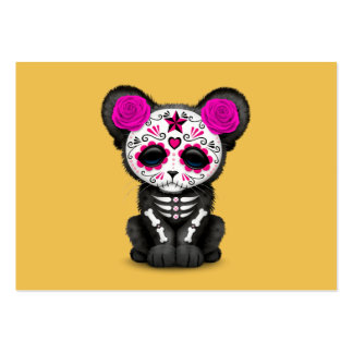 Pink Day of the Dead Sugar Skull Panther Cub Pack Of Chubby Business Cards