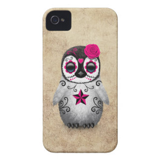 Pink Day of the Dead Sugar Skull Penguin Aged iPhone 4 Cover