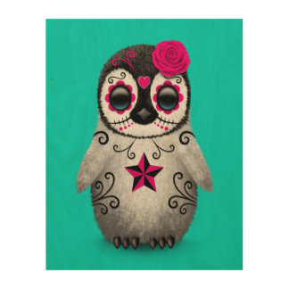 Pink Day of the Dead Sugar Skull Penguin Blue Wood Wall Art
