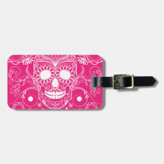 Pink Day of the Dead Tags For Luggage