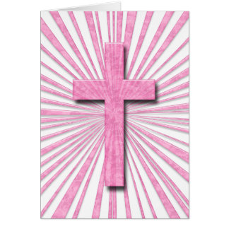 PINK DECORATIVE CROSS GREETING CARD