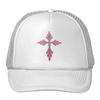 PINK DECORATIVE CROSS TRUCKER HAT