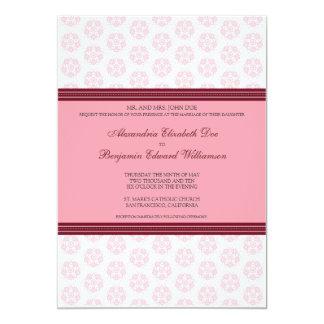 Pink Decorative Stamp Formal Wedding Invitation