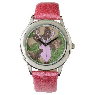 Pink deer and glitter camo Watch