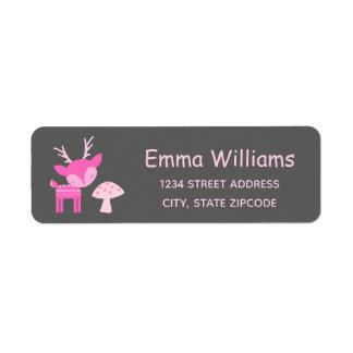Pink Deer And Mushroom Address Label