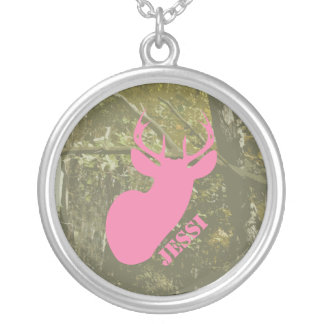 Pink Deer Head & Camouflage Necklace