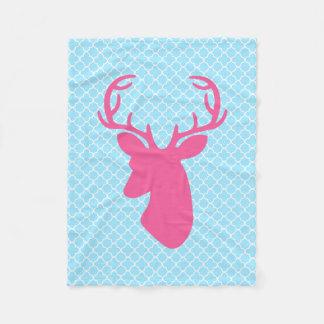 Pink Deer Head On Blue Quatrefoil Pattern Fleece Blanket