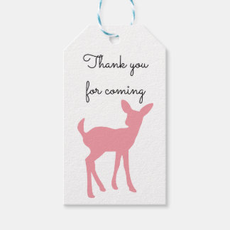 Pink Deer Thank You Favor Gift Tag