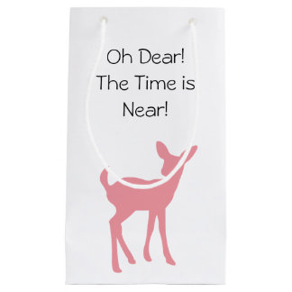 Pink Deer Woodland Forest Animals Baby Shower Small Gift Bag