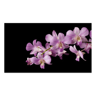 Pink Dendrobium Orchid Flower on Black - Orchids Business Card Templates