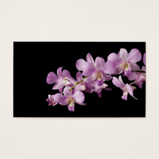 Pink Dendrobium Orchid Flower on Black - Orchids Business Card