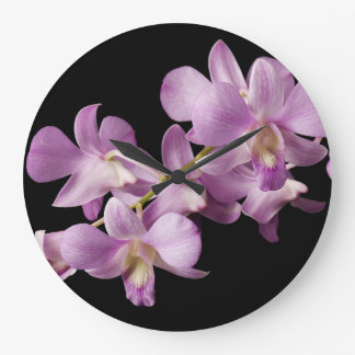 Pink Dendrobium Orchid Flower on Black - Orchids Large Clock