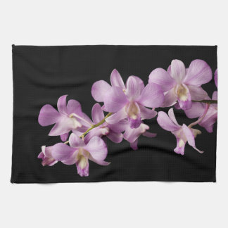 Pink Dendrobium Orchid Flower on Black - Orchids Tea Towels