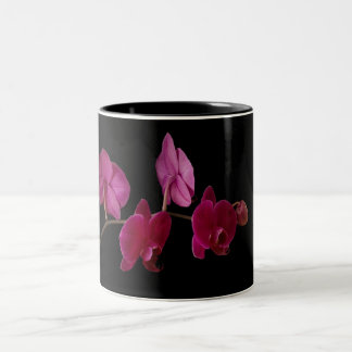 Pink Dendrobium Orchid on Black - Customized Two-Tone Coffee Mug