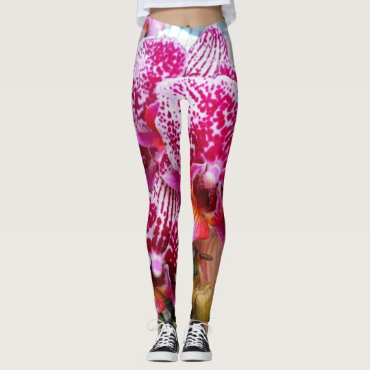 Pink Dendrobium Orchids Leggings
