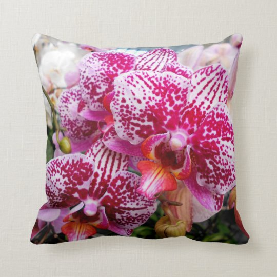 Pink Dendrobium Orchids Throw Pillow