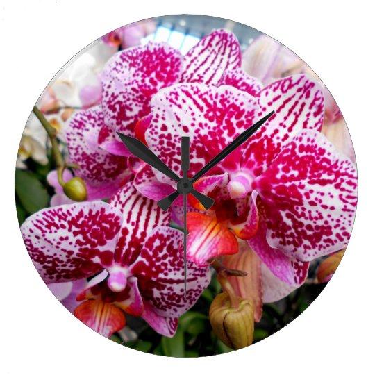 Pink Dendrobium Orchids Wallclock