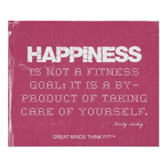Pink Denim Fitness Quote for Happiness Poster