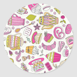 Pink Desert and Sweets Pattern Classic Round Sticker