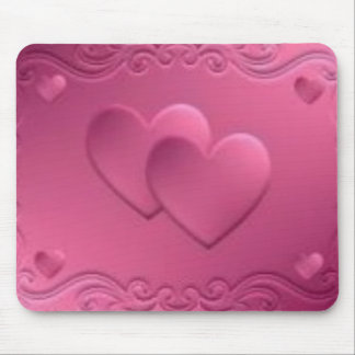 pink design with 2 hearts mouse pad