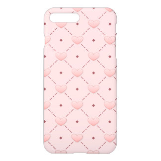 Pink diagonal pattern pink candy hearts iPhone 7 plus case