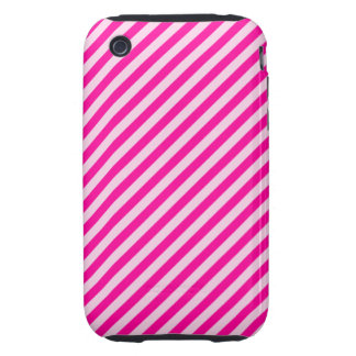 Pink Diagonal Stripes iPhone 3 Tough Covers