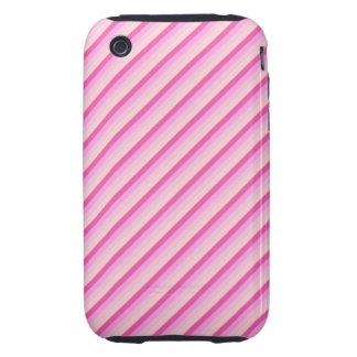 Pink Diagonal Stripes Tough iPhone 3 Cover