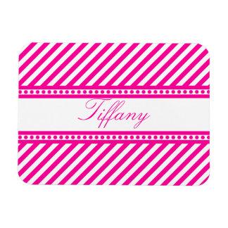 Pink Diagonal Stripes Rectangular Photo Magnet