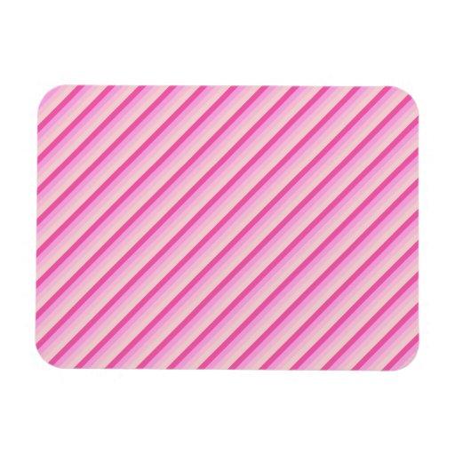 Pink Diagonal Stripes Vinyl Magnets