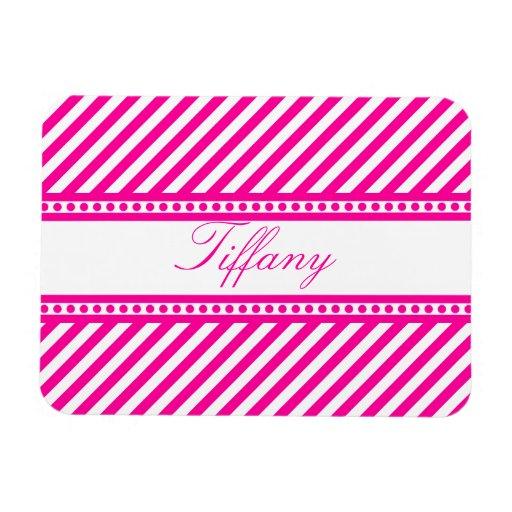 Pink Diagonal Stripes Magnets