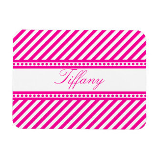 Pink Diagonal Stripes Rectangular Photo Magnet