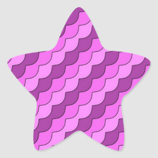 pink diagonal waves star stickers