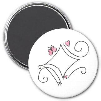 Pink diamond 7.5 cm round magnet