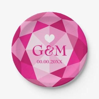 Pink diamond gemstone monogram wedding party paper plate