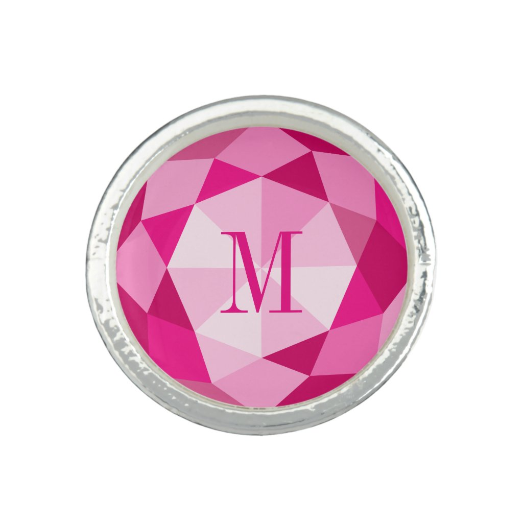 Pink diamond gemstone print monogram ring
