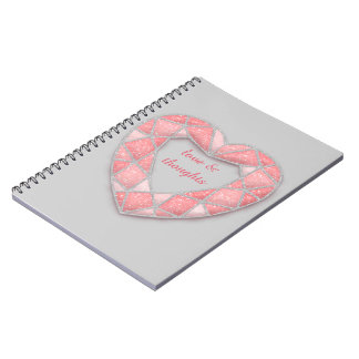 pink diamond  heart - papershop note books