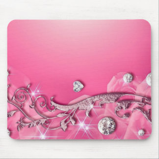 Pink Diamond Hearts & Roses Mousepads