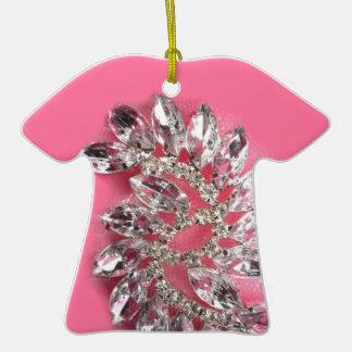 Pink Diamond Jewel Add Text Pick Color Christmas Tree Ornament