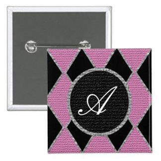 Pink diamond monogram sparkle button