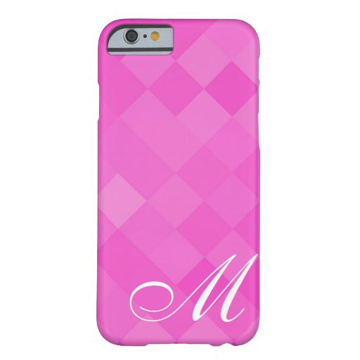 Pink Diamond Pattern and Monogram 8 iPhone 6 Case