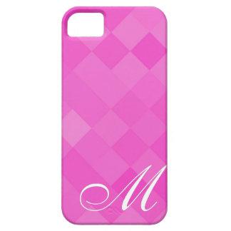 Pink Diamond Pattern and Monogram 8 iPhone 5 Case