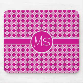 Pink Diamond Pattern Monogram Mousepad