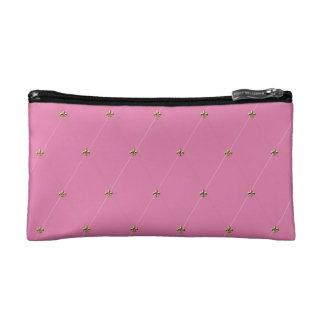 Pink Diamond Pattern with Gold Fleur-de-lis Makeup Bag