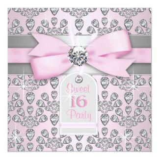 Pink Diamond Pink and Gray Sweet 16 Birthday 13 Cm X 13 Cm Square Invitation Card