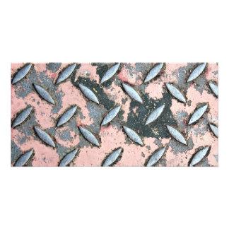 Pink Diamond Plate Metal Photo Card Template