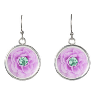 Pink Diamond Rose Earrings