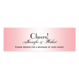 Pink Diamond Rounded Corners Wedding Drink Ticket Business Card Template
