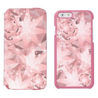 Pink Diamond Sparkle on Light Pastel Brilliant Incipio Watson™ iPhone 6 Wallet Case