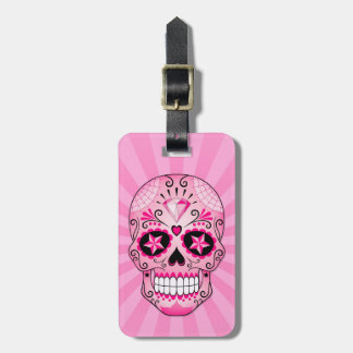 Pink Diamond Sugar Skull Luggage Tag