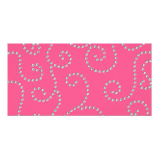 Pink diamond swirls picture card